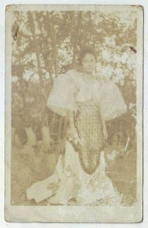Philippines RPPC c1920s Woman in a Filipiniana Dress posing at the
