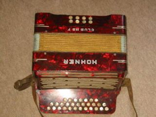 Nice Hohner Club III B F diatonic button accordion