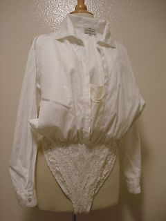HENRI BENDEL NEW YORK DOUBLE LAYER LACE WHITE DRESS SHIRT BODYSUIT
