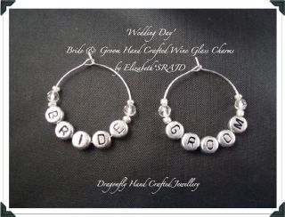 Bride & Groom Hand Crafted Wedding Day Wine Glass Charms by Elizabeth