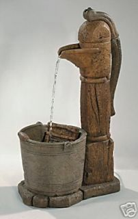 COUNTRY PITCHER PUMP WATER FOUNTAIN outdoor cement