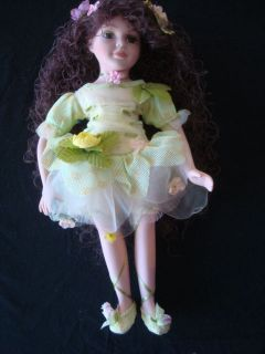 DOLL Cathay Collection Porcelain Beautiful Girl w/ Long Wavy Brumette