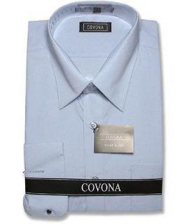 Mens Powder Blue Dress Shirt Cnvrtbl Cuffs sz 19 36/37