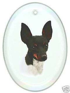 TOY FOX TERRIER Oval Beveled Glass Suncatcher, DOG
