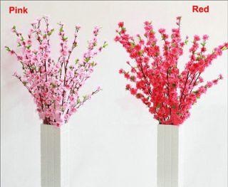 Artificial Cherry Plum Spring Peach Blossom Branch Silk Flower Tree