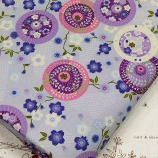 JAPANESE FAN & SAKURA CHERRY BLOSSOM ASIAN FLOWER 100% COTTON FABRIC