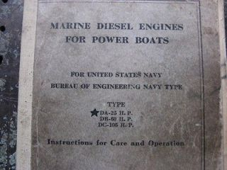 1940s sm MARINE DIESEL ENGINES MANUAL for POWER BOATS 25 105hp NORFOLK