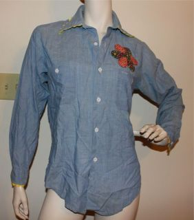 Vtg 60s 70s  chambray shirt MEDIUM vintage
