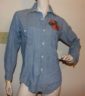 Vtg 60s 70s  chambray shirt MEDIUM vintage