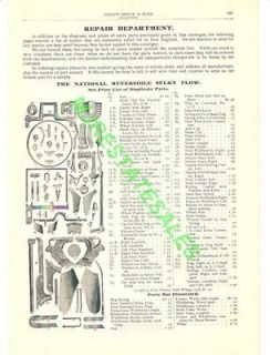1903 Antique National Sulky Plow Parts List Catalog AD