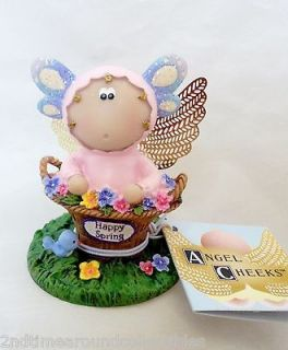 Angel Cheeks Butterfly Happy Spring Easter Bunny With Box Figurine