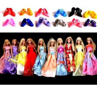 Newly listed 10 Dresses Clothes + 12 Shoes Gown For Barbie DOLLS Xmas
