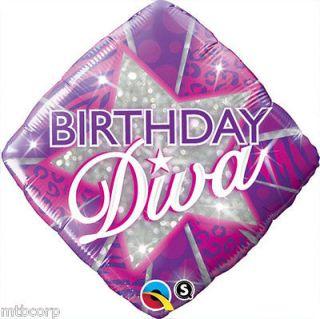 DIVA Pink Purple Glitter Zebra Cheetah Birthday Party Balloon