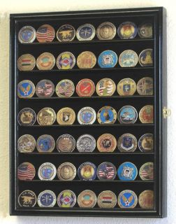 49 Challenge Coin Cabinet Display Case Holder Rack USA