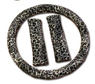 3pc BROWN TAN CHEETAH Steering Wheel Cover SET Shoulder Pads Car Van