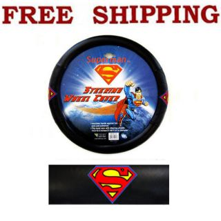 Superman Classic Logo Synthetic leather Steering Wheel Cover Fit KIA