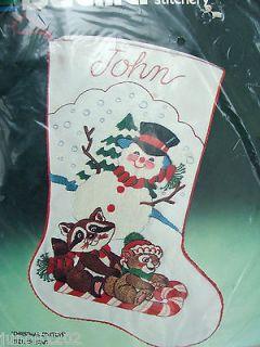SNOWMAN CHRISTMAS CRITTERS Crewel Stitchery Christmas Stocking Kit