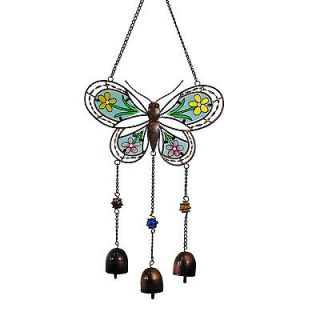 Stained Glass Butterfly Wind Chime Bells Vintage Style