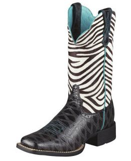 NIB Ladies Ariat Zebra Print Cowboy Boots in Assorted Sizes