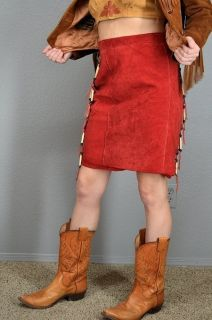 VINTAGE Womens Red NATIVE AMERICAN Beaded Horn SUEDE LEATHER Dress
