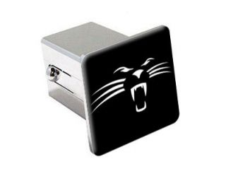 Panther Face On Black   2 Chrome Tow Trailer Hitch Cover Plug Insert