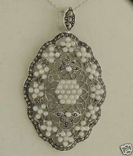Marcasite Sterling Silver Filigree Seed Pearl Pendant