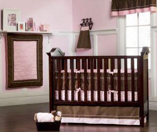 LIL KIDS Serenity Girls Pink/ Brown 4 Piece Crib Bedding Set By Kids
