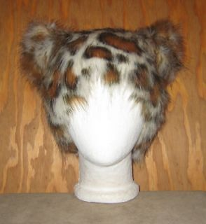 LEOPARD CAT HAT FAUX FUR KITTY TRIBAL ANIMAL PUNK SPIRIT ANIME