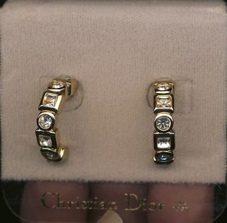 Signed Christian Dior Gold Plated Crystal Huggies Post Earrings New
