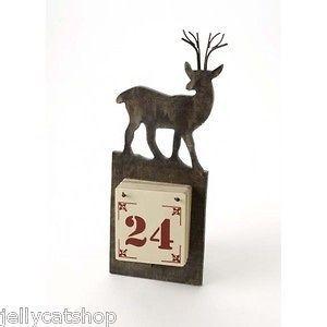 GISELA GRAHAM Christmas wooden reindeer advent calendar country living