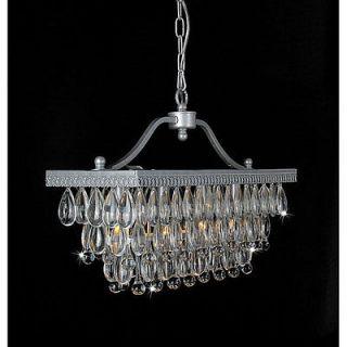 Silver Clarissa Glass Crystal Drop 3 Light Rectangular Chandelier Lamp