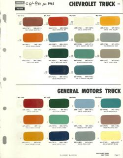 1963 CHEVY / GM TRUCK Color Chip Paint Sample Brochure/Chart  General