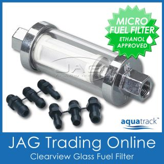 CLEARVIEW INLINE GLASS FUEL FILTER KIT   Boat/Outboard/ Universal/Ride