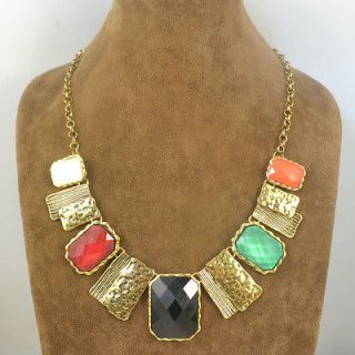 Jewelry Antique Bronze Plated Multicolor Chunky Resin 18 Necklace