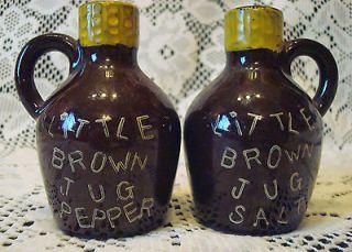 VINTAGE LITTLE BROWN JUG MOONSHINE JUGS SALT & PEPPER SHAKERS