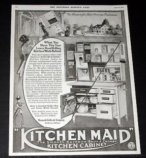 1919 OLD MAGAZINE PRINT AD, KITCHEN MAID, THE SMOOTH SURFACE KITCHEN