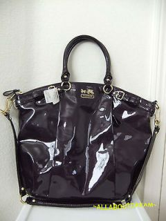 428 NWT COACH Madison Patent Leather Lindsey Satchel Bag Purse 18627