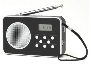 COBY AM FM 9 Band SW 1 7 Shortwave RADIO Silver Black Strap NEW FREE
