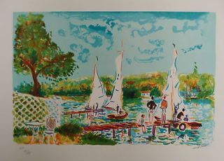Sunday Sailing by Jean Claude Picot, LIMITED EDITION Lithograph on
