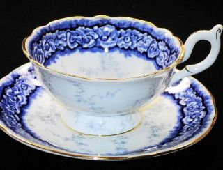 COALPORT DALEMERE WHITE ROSES COBALT BLUE WIDE TEA CUP AND SAUCER