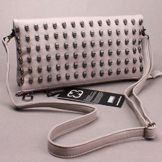 BB365 New Skull clutch messager shoulder Bag WOMENS HANDBAG Gray