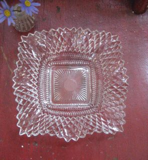 Vintage Hobnail Diamond Point Clear Glass Candy Dish w/Ruffled Edge