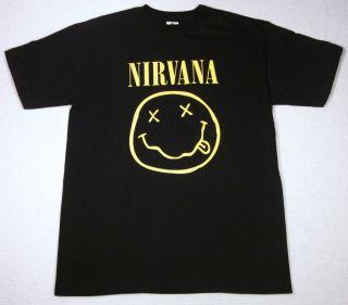 NIRVANA Smiley Face Tour T shirt Kurt Cobain Rock Tee S