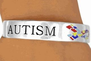 Autism Awareness Puzzle Ribbon Cuff Bracelet New