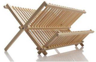 Norpro Wood Folding Dish Drying Rack Drainer NEW
