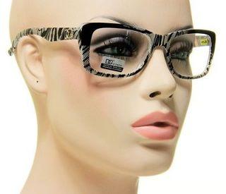 Reading Glasses Snake Skin Print Black Silver Eyeglasses + 1.25