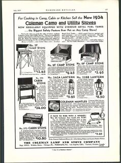 1934 AD Coleman Cabin Camp Stove Lanterns Gas Iron