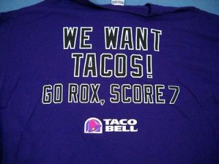 Colorado Rockies MLB Taco Bell We Want Tacos Go Rox, Score 7 T