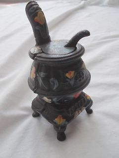 Old Cast Iron Amish Pennsylvania Dutch Pot Belly Stove Hand Painted 5