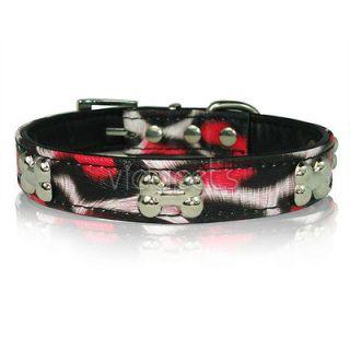 17 21 Hot Pink & white black Leather Dog collar Large L Medium